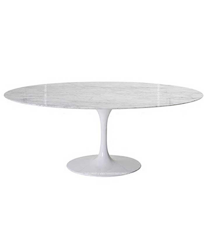 Eero Saarinen Tulip Style Oval Dining Table – White Marble