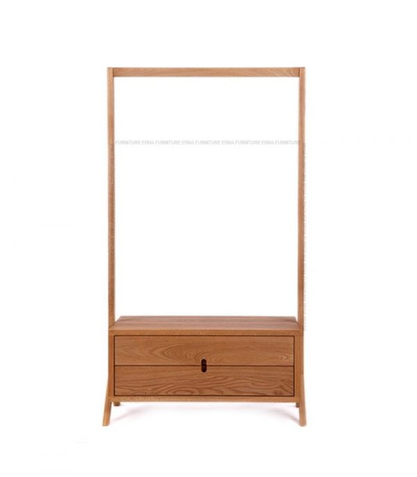 Lakson Solid Oak Wood Coat Rack With Drawers