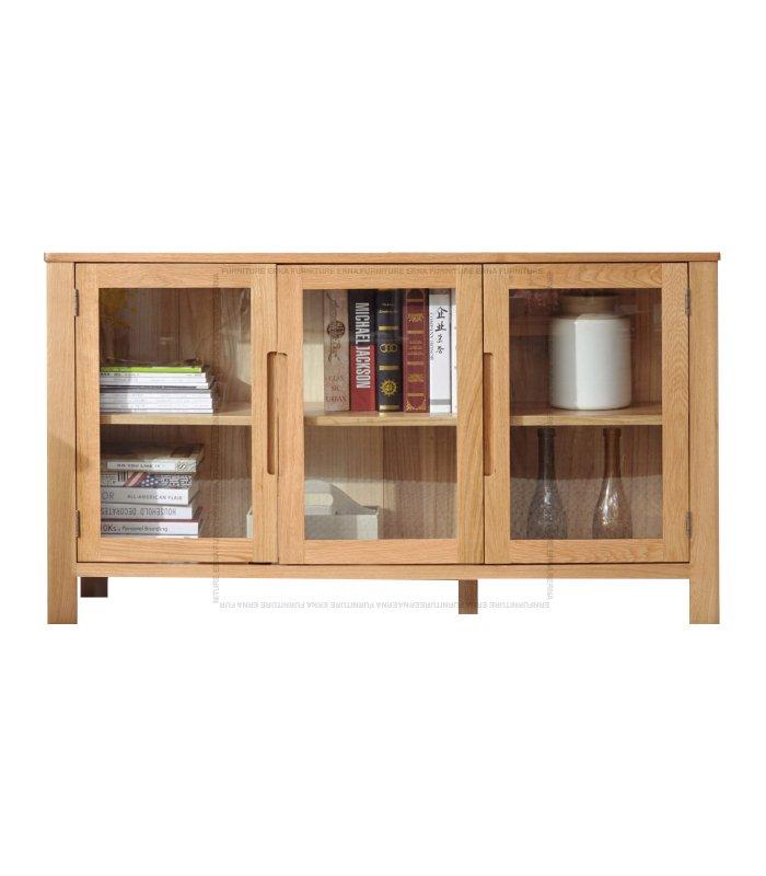 Muzgli Solid Oak Wood 3 and 4 Glass Doors Cabinet