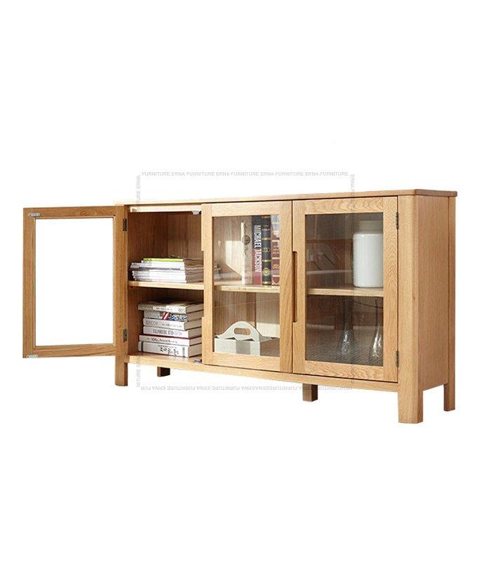 Muzgli Solid Oak Wood 3 and 4 Glass Doors Cabinet (4)