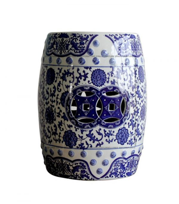 Porcelain Ceramic Drum Stool Blue