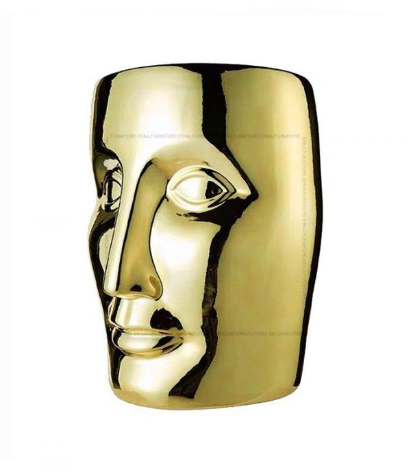 xO-Bonze Style Ceramic Head Stool Gold