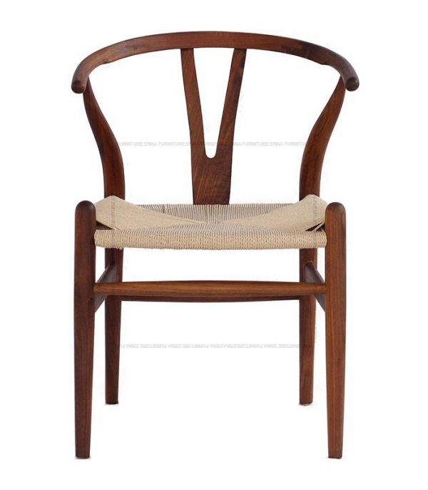 Hans J. Wegner CH 24 Style Y Chair- Wishbone Chair Walnut With Natural Cord