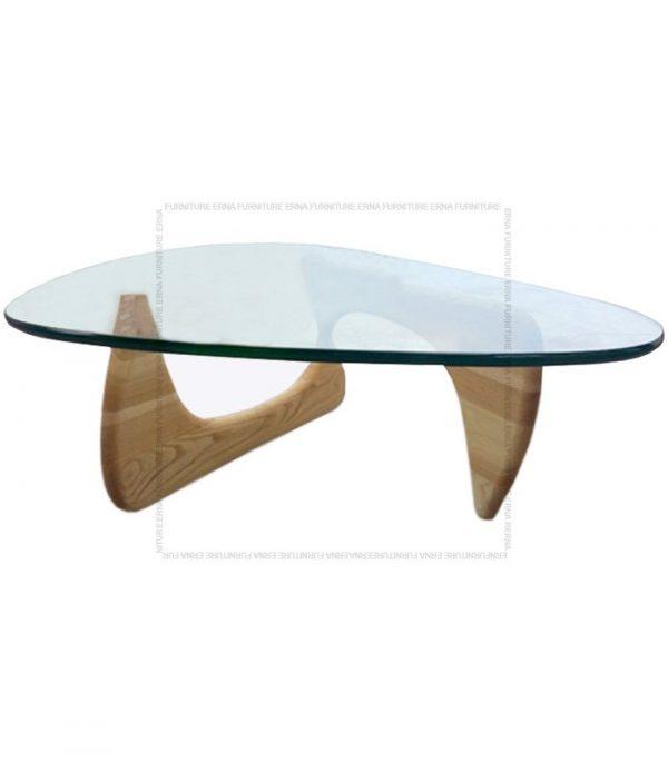 Noguchi Style Glass Coffee Table Oak Legs
