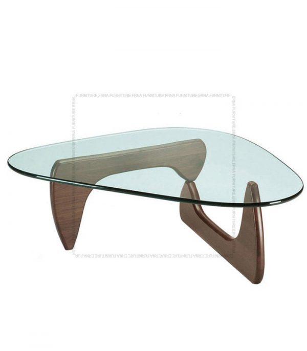 Noguchi Style Glass Coffee Table Walnut Legs