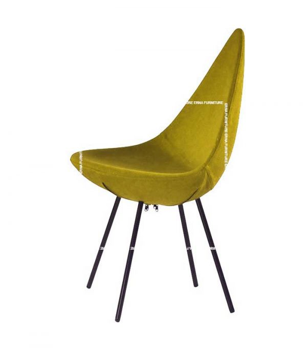 Drop-Style-Plastic-Dining-Chair-Yellow Fabric