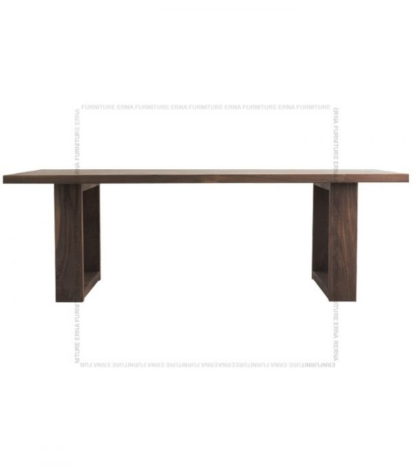 Jetson Solid Oak Wood Dining Table Walnut color