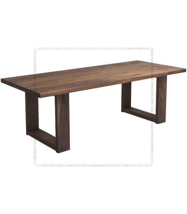 Jetson Solid Oak Wood Dining Table Walnut