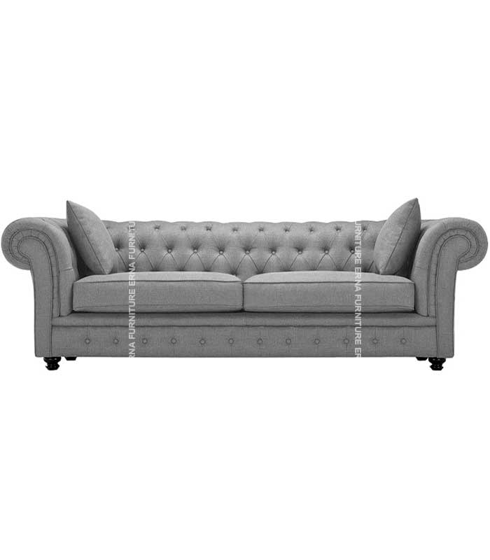 1,2 and 3 Seater Chesterfield Fabric Sofa Grey (1)