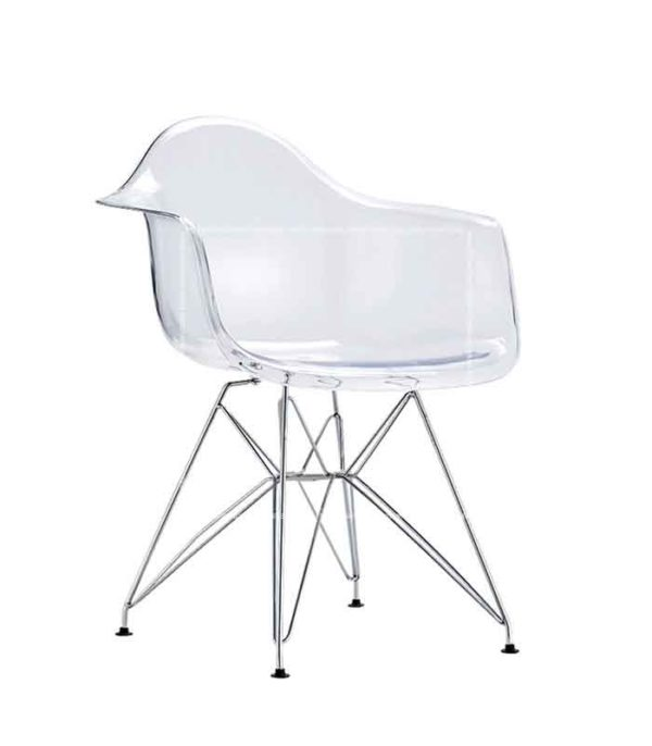Eames DAW Style Transparent Chair - Steel Legs