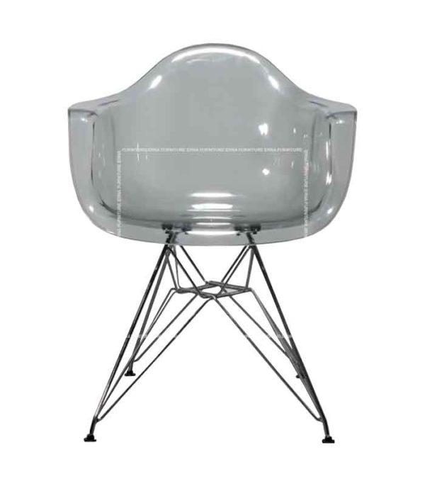 Eames DAW Style Transparent Grey Chair - Steel Legs (1)