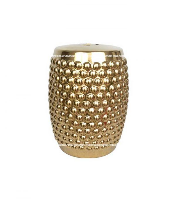 Ceramic Drum Stool and Side Table - Gold