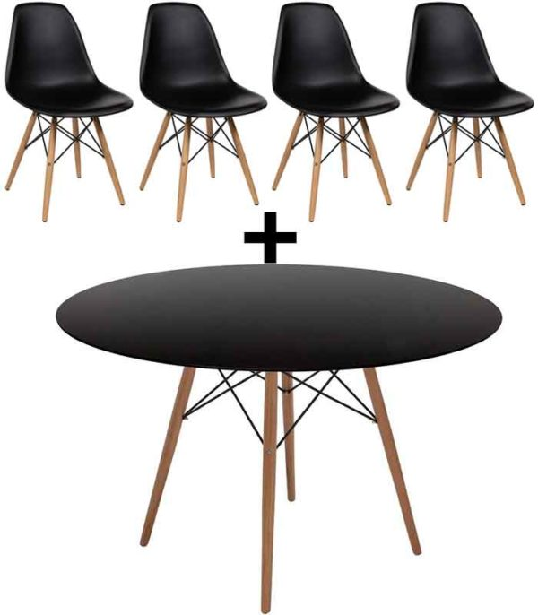 Eames DSW Style Round Table 100 cm & 4 DSW Style Chairs - Black
