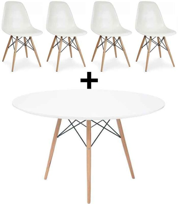 Eames DSW Style Round Table 100 cm & 4 DSW Style Chairs - White