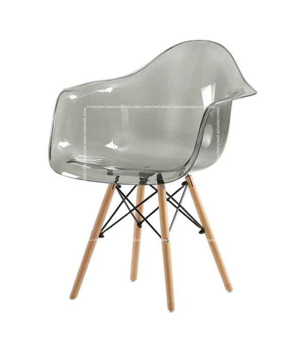 Eames DAW Style Transparent Arm Chair - Wooden Legs (1)