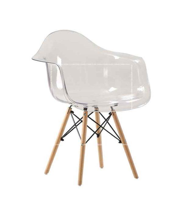Eames DAW Style Transparent Arm Chair - Wooden Legs (2)